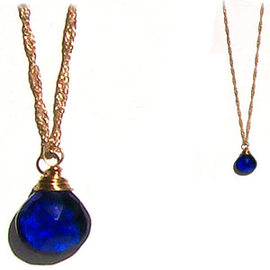 Artisan gold necklace Sapphire Blue Quartz wire-wrapped drop pendant & chain