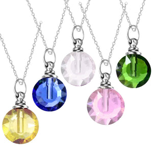 Crystal glass KEEPSAKE Necklace mini Flat Round vial bottle glitter sand oil herbs ashes - U PICK