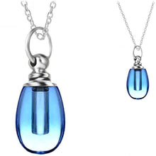 Load image into Gallery viewer, Crystal glass KEEPSAKE short rounded drop pendant Necklace miniature bottle memories glitter grief oil herbs ashes - U PICK