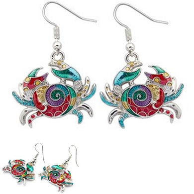Silver-plated earrings Crab epoxy multi-colors sea ocean metal dangles - 1 pair
