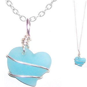 Artisan art cultured SEA GLASS HEART necklace silver non-tarnish 18mm wire-wrapped pendant & silver-plated chain | U PICK