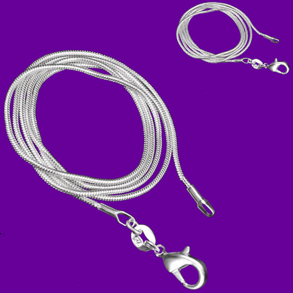 01pc Chain: Silver-plated chain necklace 1mm snake lobster clasp jewelry U PICK length 16-30