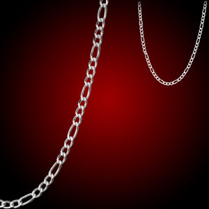 "Chain: Silver-plated Figaroa ~24"" jewelry ~1mm metal lobster clasp necklace"
