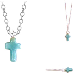Artisan silver necklace Amazonite Cross wire-wrapped religious pendant & chain