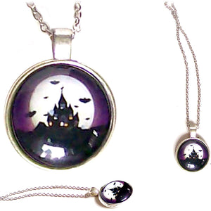 Silver Glass Dome HALLOWEEN spooky Haunted House black Bats pendant chain