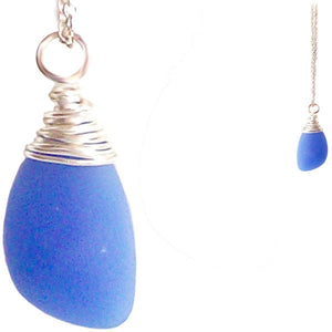 Artisan silver necklace cultured SEA GLASS sterling hand wire-wrapped pendant chain - Seafoam Blue