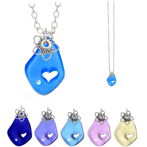 Artisan silver necklace cultured SEA GLASS 32x20mm freeform carved out heart pendant chain U PICK 1 or all 6