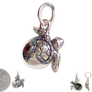 "Sterling silver necklace Hatching SEA TURTLE charm .925 pendant / charm or U PICK ~18"" chain"