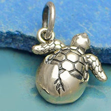 "Load image into Gallery viewer, Sterling silver necklace Hatching SEA TURTLE charm .925 pendant / charm or U PICK ~18"" chain"