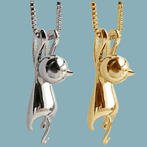 Silver- gold-plated hanging Kitty Cat small pendant chain necklace
