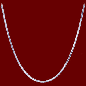"Chain: Silver-plated Snake ~11-1/8"" jewelry child's metal lobster clasp necklace"