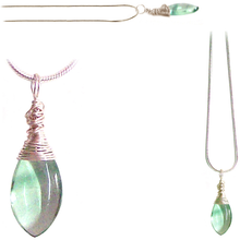 Load image into Gallery viewer, Artisan silver necklace Fluorite wire-wrapped drop 14x10mm pendant & chain