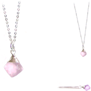 "Artisan sterling silver necklace wire-wrapped Pink Chalcedony Briolette pendant ~18"" plated chain"