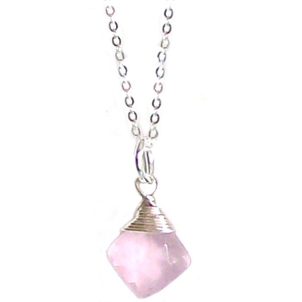 Artisan sterling silver necklace wire-wrapped Pink Chalcedony Briolette pendant ~18