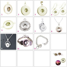 Load image into Gallery viewer, Snap button pendant base 18mm round silver metal finding single loop