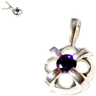 Sterling silver Amethyst round pendant purple ~17mm - 0.4 grams