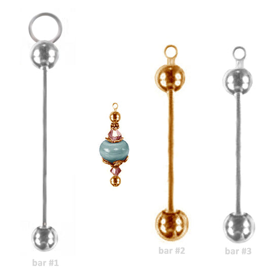 Bead-it beadable gold pendant: diy craft metal, removable end, add-a-bead holder