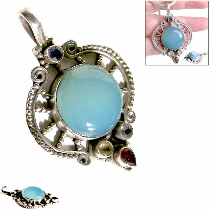 Sterling silver Chalcedony Iolite mixed pendant antiqued freeform handmade ~52x37x8mm cab