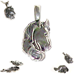Sterling silver Horse Head pendant animal equine ~38mm shiny - 4.1 grams