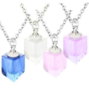 Crystal glass KEEPSAKE square elongated pendant Necklace miniature bottle memories glitter grief oil herbs ashes - U PICK