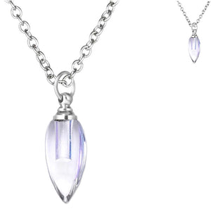 Crystal glass KEEPSAKE pendant Necklace miniature bottle memories grief cremation oil herbs ashes - U PICK