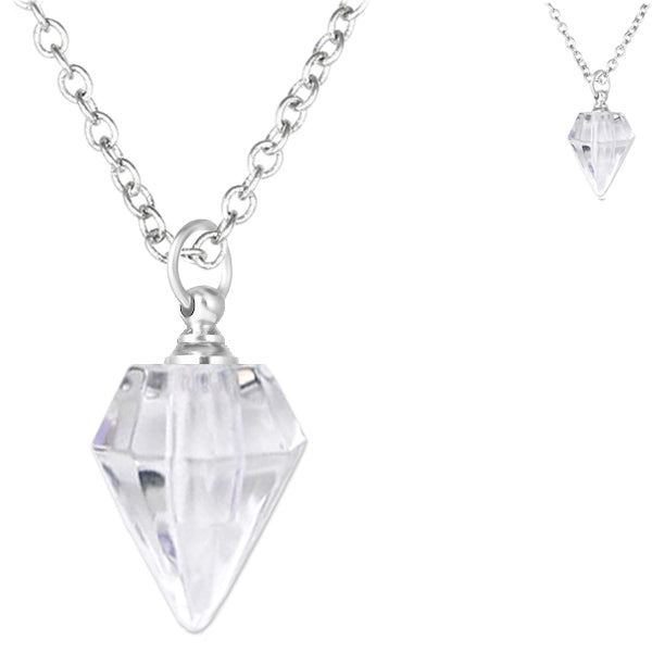 Crystal glass KEEPSAKE Necklace mini faceted Diamond point vial bottle oil herbs ashes - U PICK