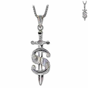 Sterling silver Sword Dollar pendant dagger ~37x11x2mm shiny - 1.9 grams