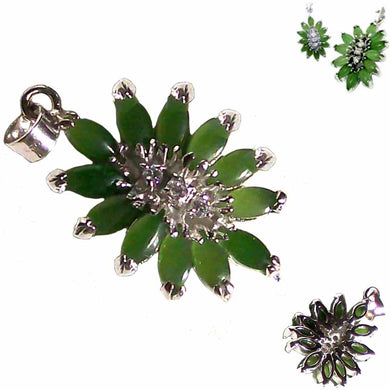Sterling Silver Jade & Crystals Pendant marquise cut round exotic ~35mm stone - ~4.4 grams