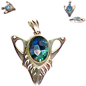 Sterling silver Mosaic Opal pendant triangle ~30mm Estate Sale - 3.9 grams