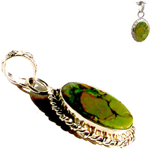 Silver-plated Green Copper Turquoise pendant oval ~1-1/2