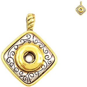 Snap button necklace pendant base 12mm diamond silver gold metal finding chain