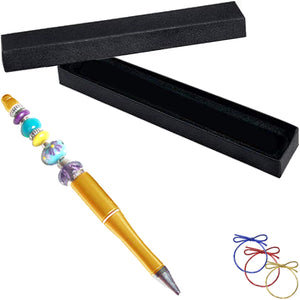 Ballpoint artisan acrylic pen & box Gold lampwork glass beads writing
