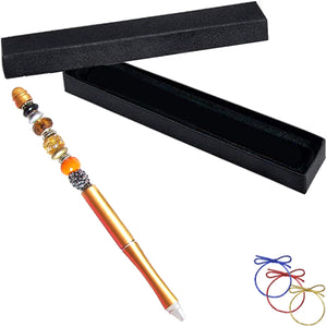 Ballpoint artisan metal pen gold lampwork glass beads writing & box