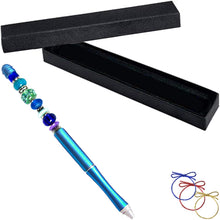 Load image into Gallery viewer, Ballpoint artisan metal pen Blue lampwork glass beads writing & box