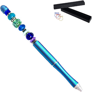 Ballpoint artisan metal pen Blue lampwork glass beads writing & box