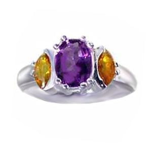 Sterling silver genuine Amethyst & Citrine gemstone ring U PICK size