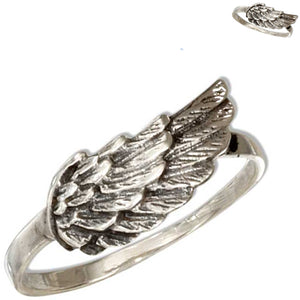 Sterling silver antiqued raised Angel Wing spiritual religious ring U PICK size