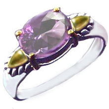 Load image into Gallery viewer, Sterling silver 14k genuine Amethyst oval gemstone ring U PICK size