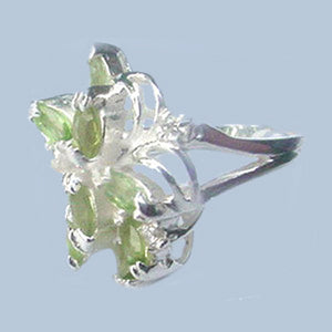 Sterling silver genuine Peridot & White CZs Cluster gemstone ring U PICK size