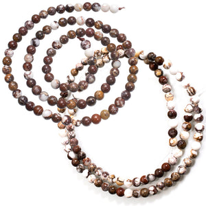Rare Wild Horse Magnesite Arizona round ~4mm brown white pinto stone beads - U PICK
