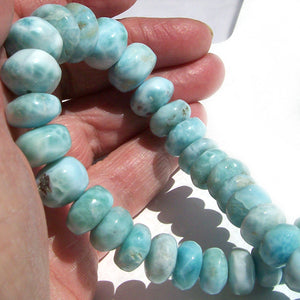 "Rare Larimar Dominican sterling silver 18-7/8""  9-16mm rondelle AA+ stone bead necklace"