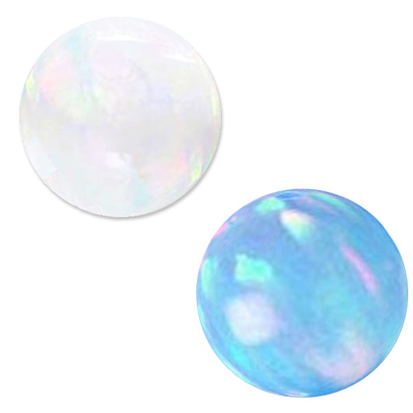 Rare Lab created Opal 5mm round fully drilled large ~1.2mm hole bead - White or Blue