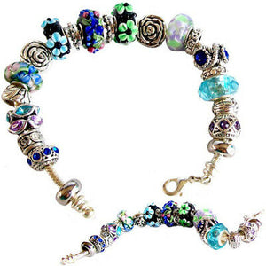 European-style bracelet add a bead 23cm silver charm large hole beads chain lobster clasp