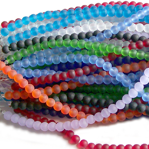 "Cultured sea glass 4mm round matte beach ocean seaglass beads 8"" strand"