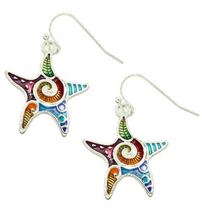 Silver-plated earrings Starfish epoxy multi-colors sea beach ocean 42x21mm dangles - 1 pair
