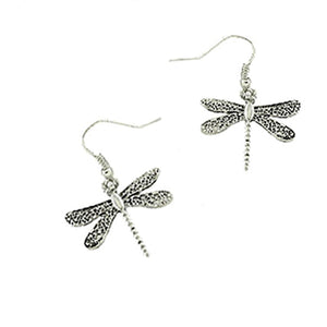 Silver-plated antiqued earrings Dragonfly flat metal 30mm dangles - 1 pair