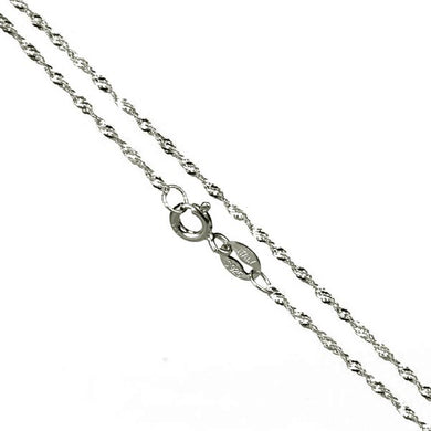 Chain: Sterling silver Italian 16-inch WAVE 1mm jewelry necklace