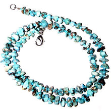 "Load image into Gallery viewer, Rare Kazakhstan Turquoise Beads Necklace 16"" Chips ~6-12x5-7mm sterling silver"