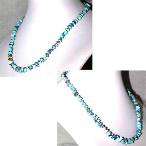 "Rare Kazakhstan Turquoise Beads Necklace 16"" Chips ~6-12x5-7mm sterling silver"