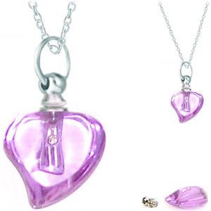 Crystal glass KEEPSAKE pendant Necklace miniature bottle Curved HEART memories grief cremation oil herbs ashes - U PICK